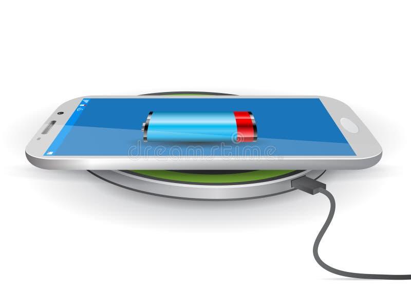 Trådlöst block för batteriuppladdare med en Smartphone - vektor Illustra royaltyfri illustrationer
