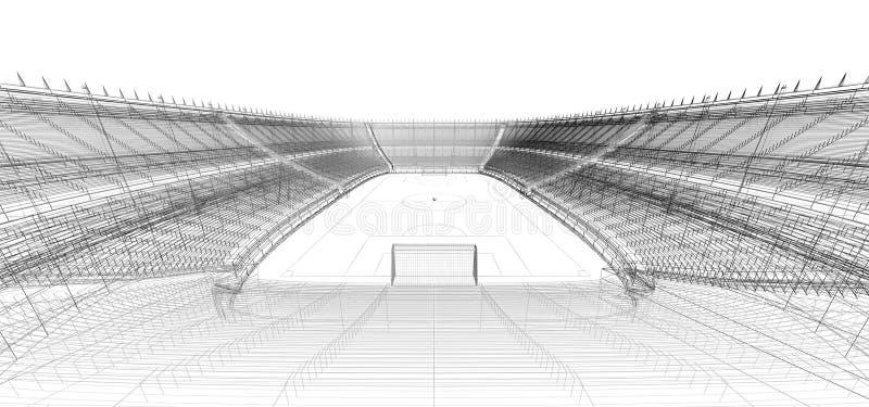 Trådram av fotboll- eller fotbollstadion royaltyfri illustrationer