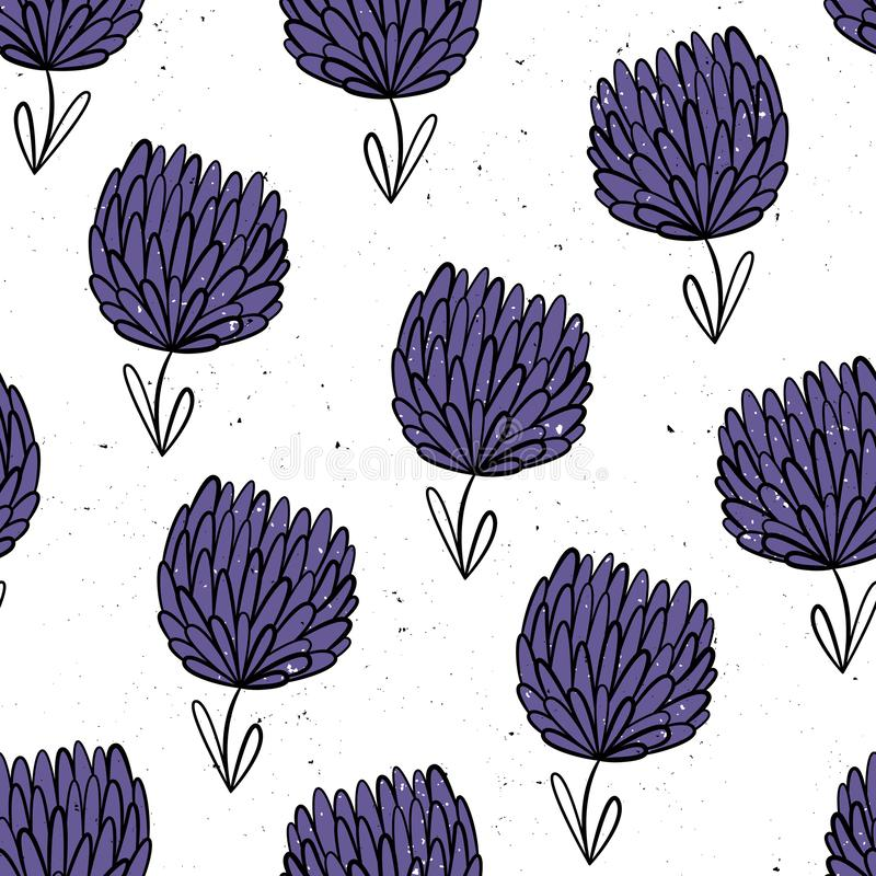 Trèfle abstrait Configuration sans joint de vecteur avec des fleurs Fond de fleur Style tiré par la main Motifs scandinaves illustration de vecteur