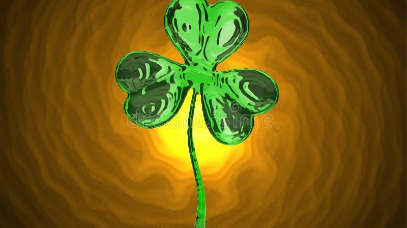 Trèfle d'effet du jour 3d de St Patrick au-dessus de fond de l'espace Salutation décorative sale ou carte postale Bannière simple illustration libre de droits