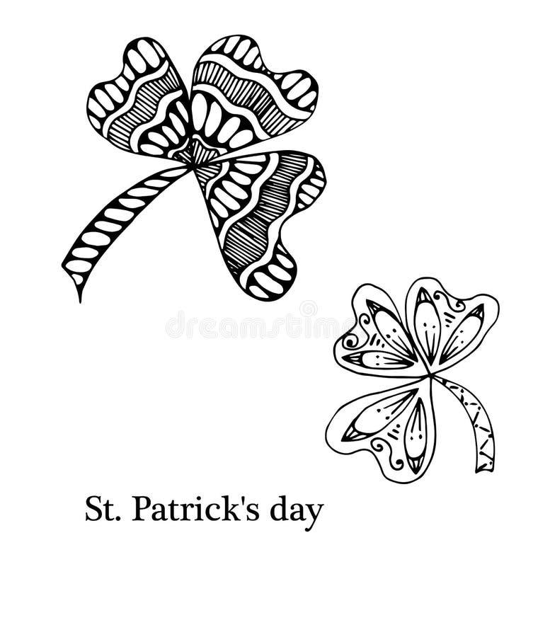 Trèfle de feuille avec trois feuilles, décorées des ornements floraux dans le style de zentangle illustration stock