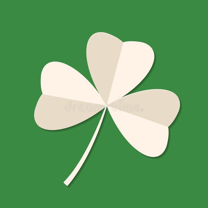 Trèfle de feuille du vert trois du jour de St Patrick sur le fond vert Icône des vacances 3d Illustration de vecteur Symbole de r illustration de vecteur