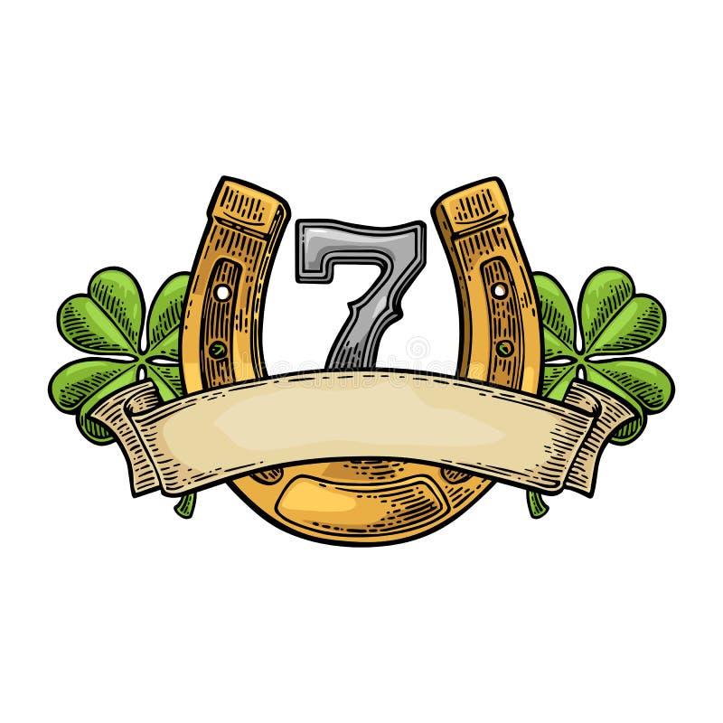 Trèfle de quatre feuilles, fer à cheval, numéro sept, ruban Gravure de vecteur de vintage illustration libre de droits