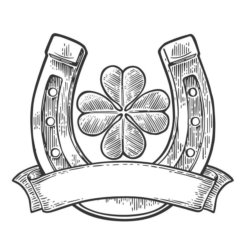 Trèfle et fer à cheval de feuille de la bonne chance quatre avec le ruban illustration de vecteur
