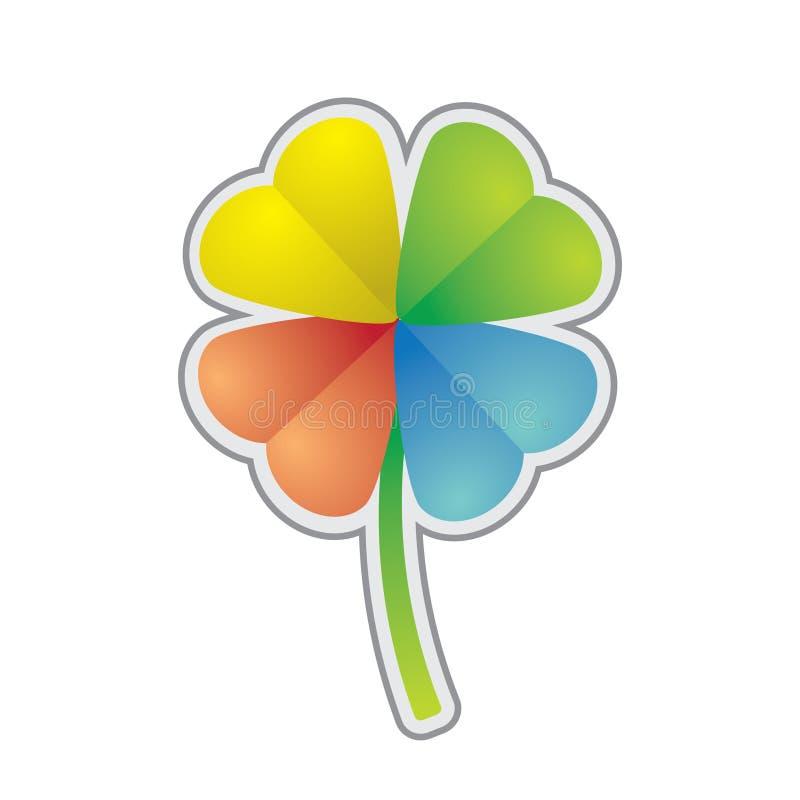 Trèfle multicolore de quatre-lame illustration stock
