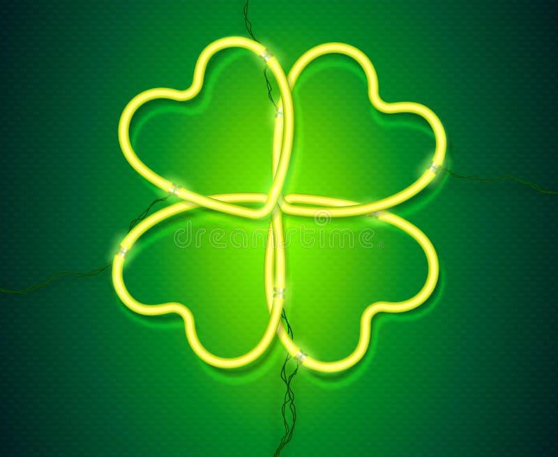 Trèfle vert brillant de vecteur de lampe au néon, symbole du jour de St Patrick illustration stock