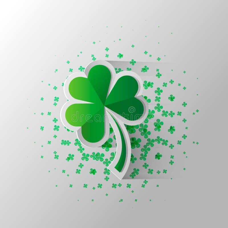 Trébol aislado en blanco, ejemplo de cuatro hojas del vector para el día de St Patrick s libre illustration