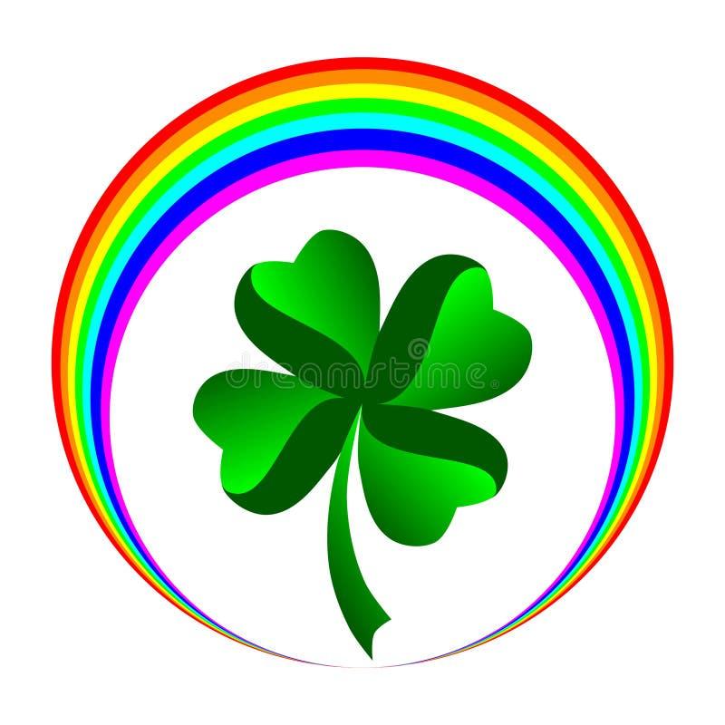Trébol con hojas cuatro con el icono del arco iris stock de ilustración