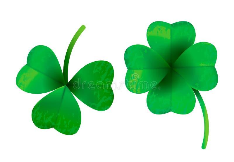 Trébol de cuatro hojas aislado en el fondo blanco, ejemplo del vector para el día del ` s de St Patrick stock de ilustración