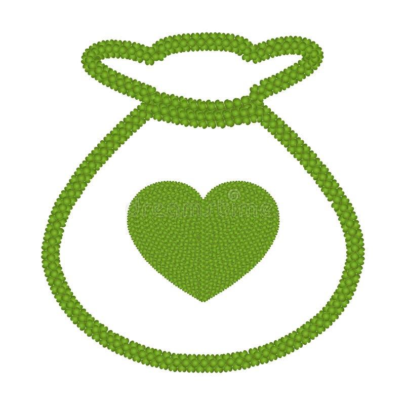 Trébol de la hoja del verde cuatro del corazón en icono del bolso del dinero stock de ilustración
