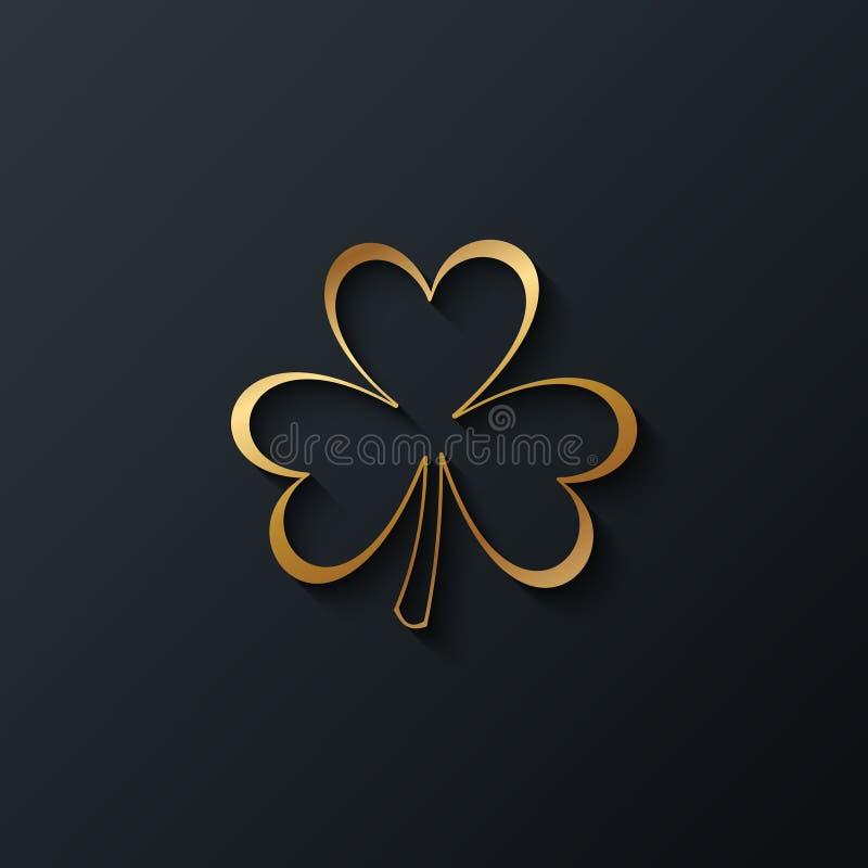 Trébol de oro en fondo negro Diseñe el elemento para los saludos del día del ` s de St Patrick ilustración del vector