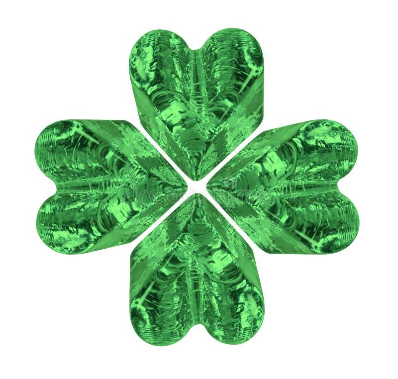 Trébol del cristal de la hoja del verde cuatro imagen de archivo libre de regalías