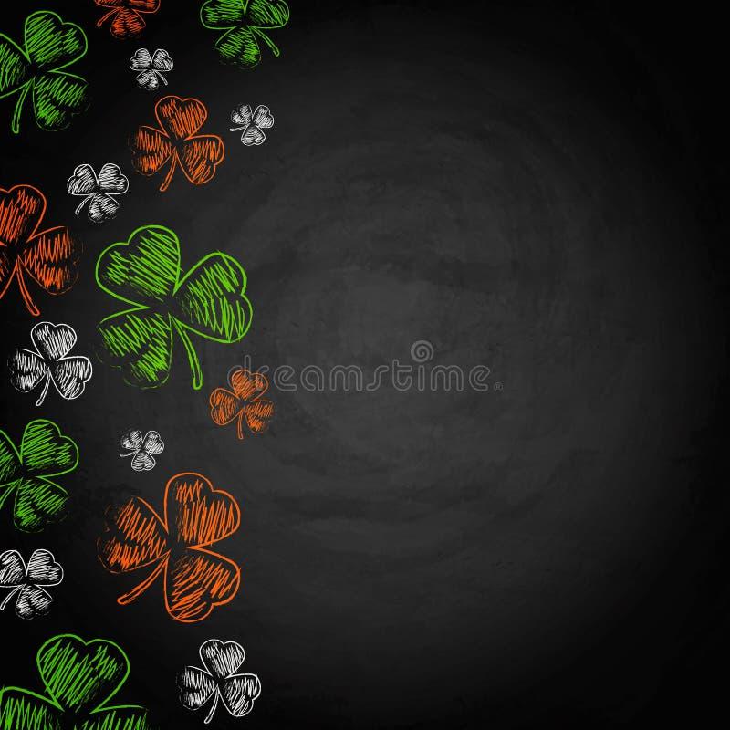 Trébol del día de Patricks del santo en fondo de la pizarra ilustración del vector