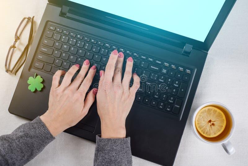 Trébol verde abstracto de la hoja en un teclado de ordenador fotos de archivo