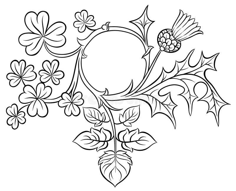 Trébol y cardo adornados del marco stock de ilustración