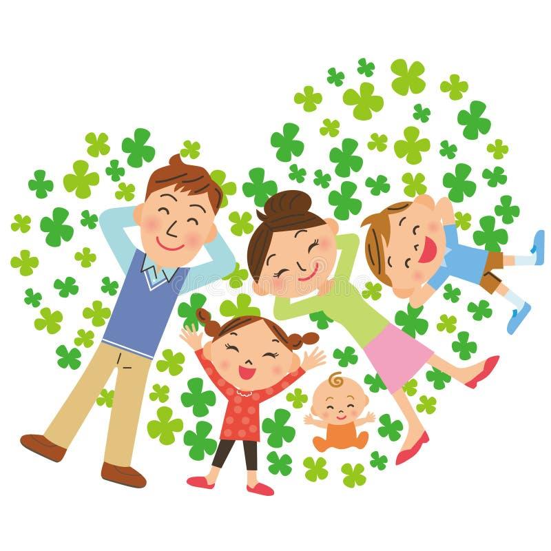 Trébol y familia stock de ilustración