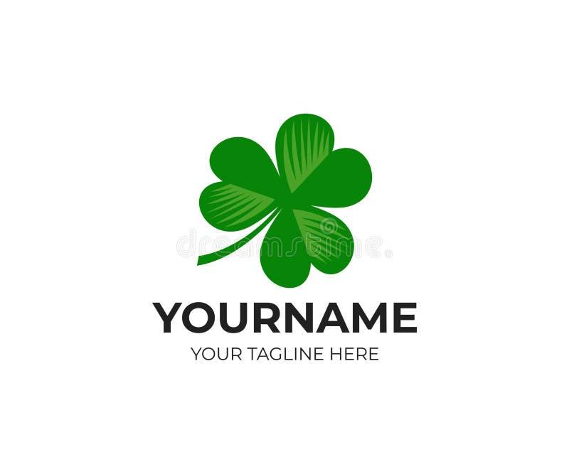 Trébol y trébol irlandeses, plantilla del logotipo Hoja, hojas y flora, diseño del vector ilustración del vector