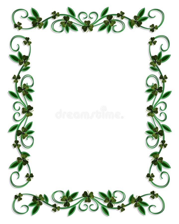 Tréboles de la frontera del día del St Patricks ilustración del vector