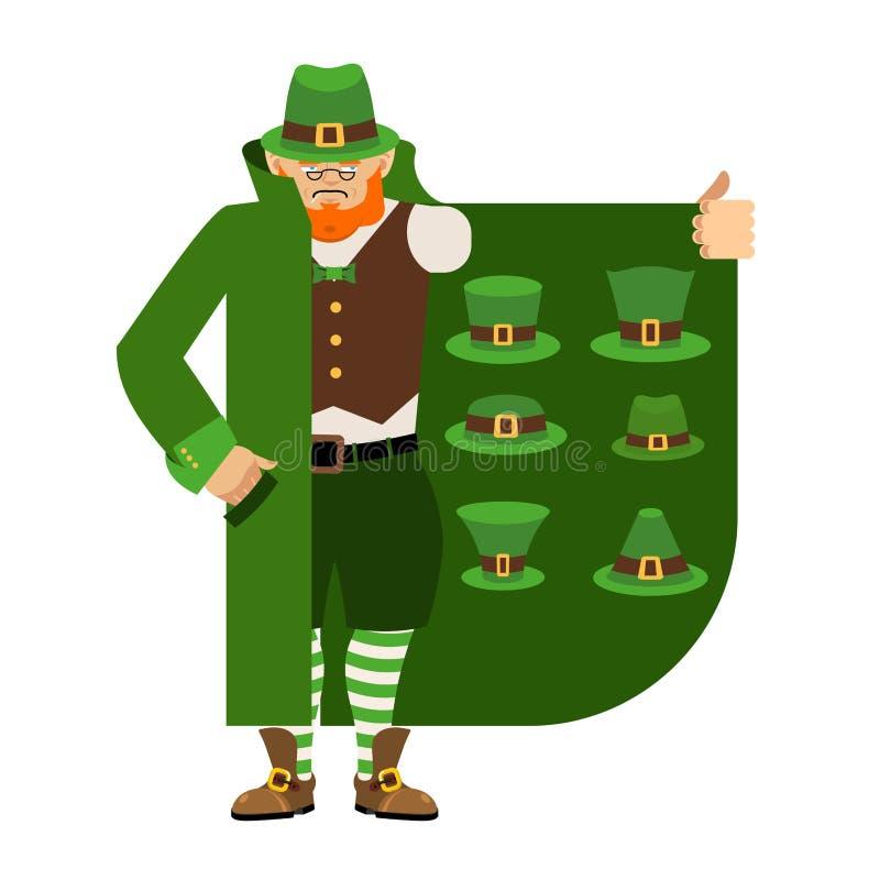 Tréboles y rosas del día del St Pattys Contrabandista del duende que vende el sombrero verde Capa-SE libre illustration