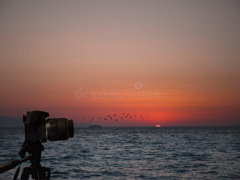 Trépied sur la photographie de caméra et de paysage de DSLR Séance photos de coucher du soleil photographie stock libre de droits