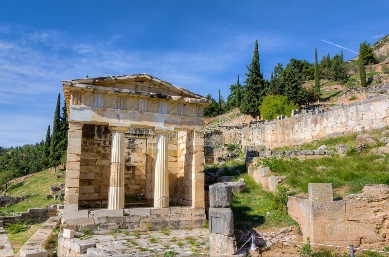 Trésor athénien, Delphes, Grèce image stock