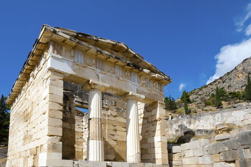 Trésor athénien, Delphes, Grèce images stock