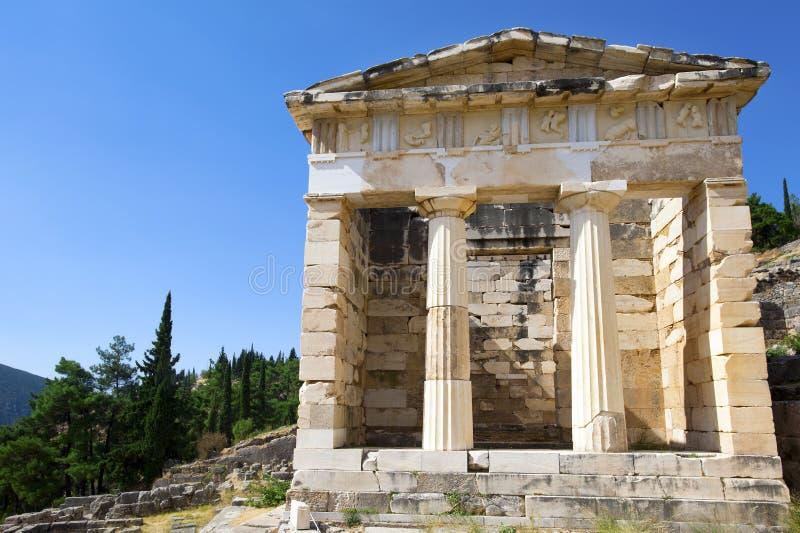 Trésor athénien, Delphes, Grèce images libres de droits