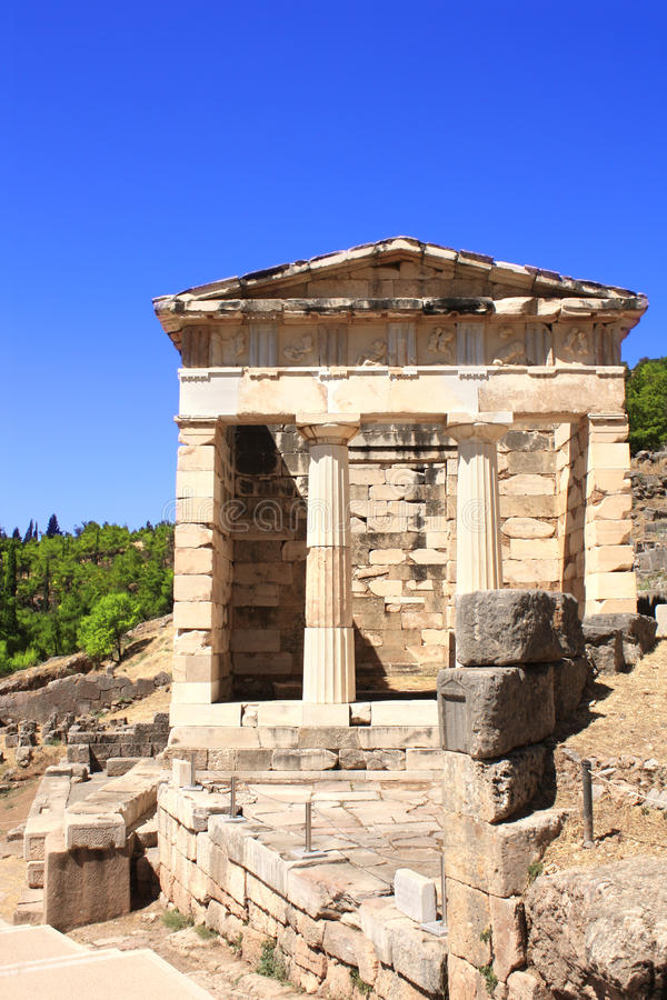 Trésor athénien, Delphes, Grèce photographie stock