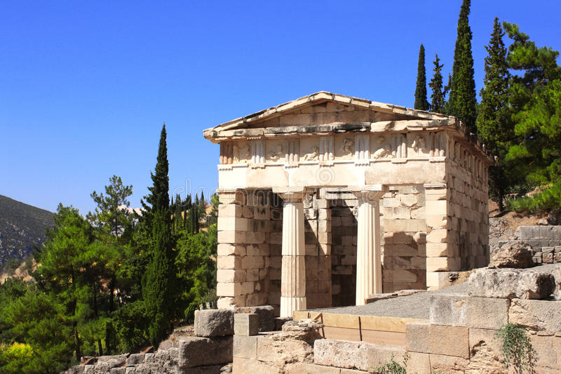 Trésor athénien, Delphes, Grèce photo stock