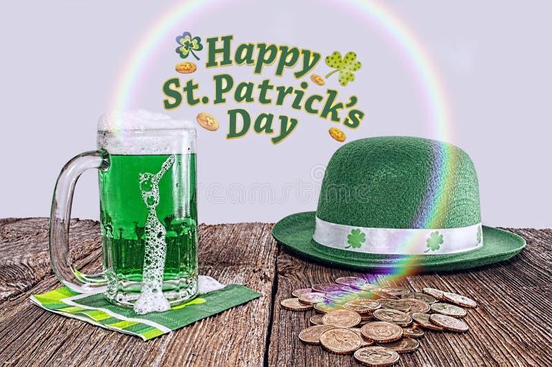 Trésor de jour de St Patrick, arc-en-ciel, chapeau photos stock