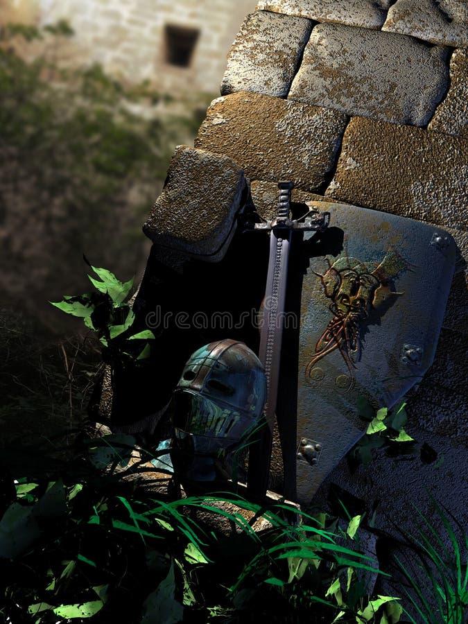 Trésors de chevalier parmi des ruines illustration libre de droits