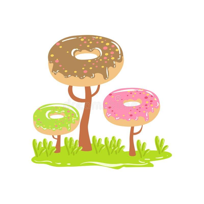 Três árvores de chocolate com Dnut coroam o elemento doce da paisagem da terra dos doces da fantasia ilustração stock