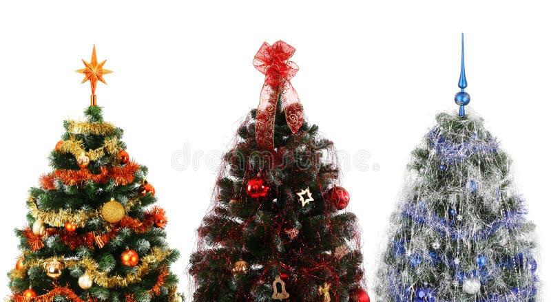 Três árvores de Natal fotos de stock royalty free