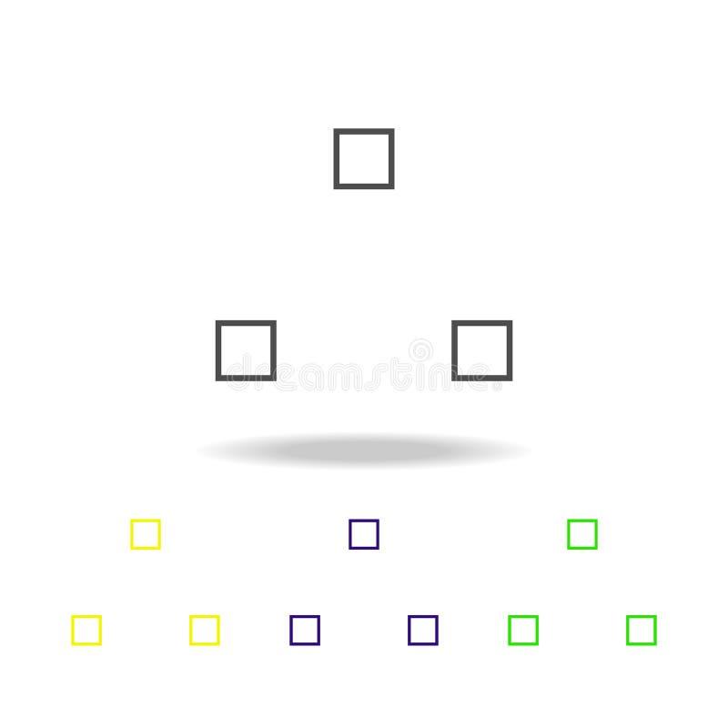 três ícones coloridos do cubo Linha fina ícone para o projeto do Web site e o desenvolvimento do app Ícone colorido superior da W ilustração royalty free