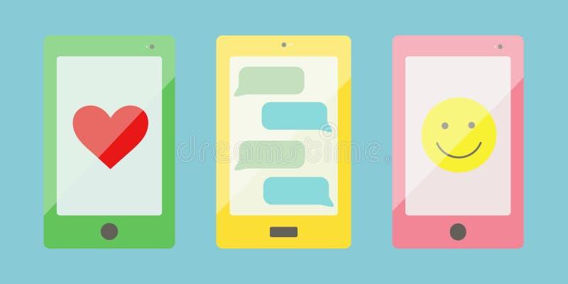 Três ícones espertos coloridos do vetor do telefone, isolados em um fundo azul imagens de stock royalty free