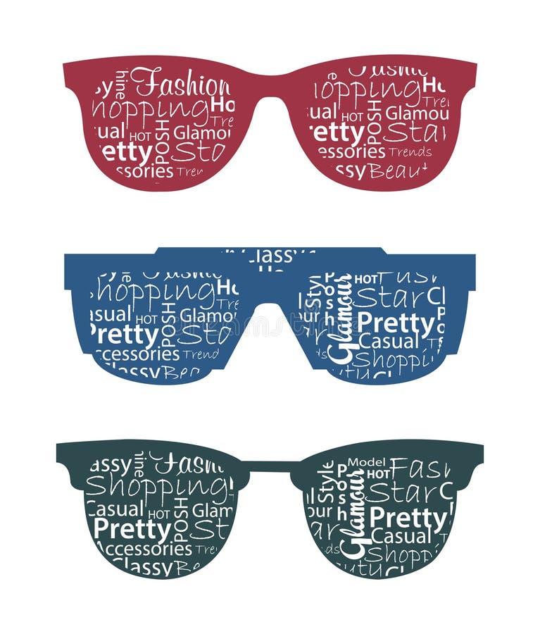 Três óculos de sol retros com typography nele. ilustração do vetor