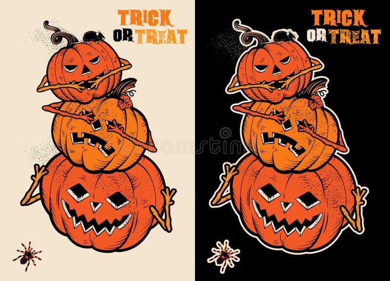 Três abóboras sábias de Dia das Bruxas ilustração royalty free