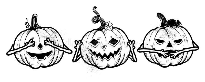 Três abóboras sábias de Dia das Bruxas ilustração do vetor