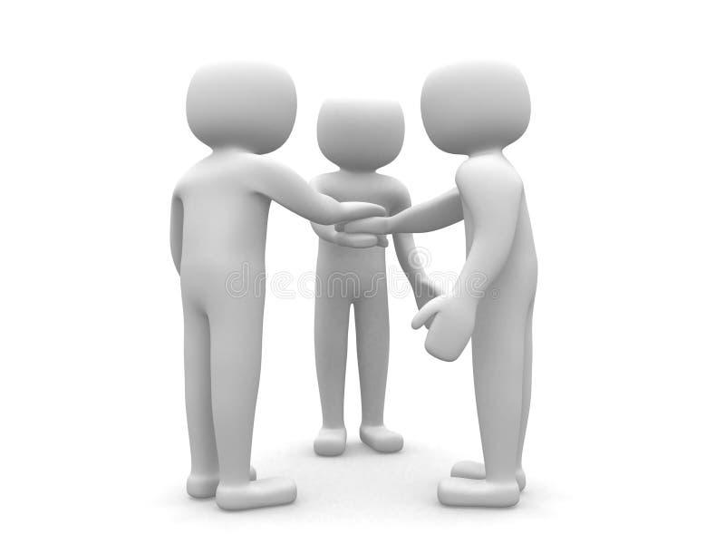 Três amigos - ícone dos povos 3d ilustração do vetor