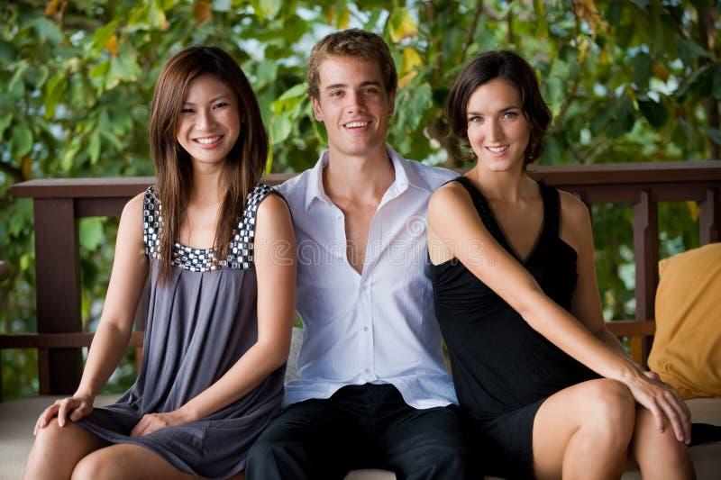 Três amigos fotos de stock royalty free