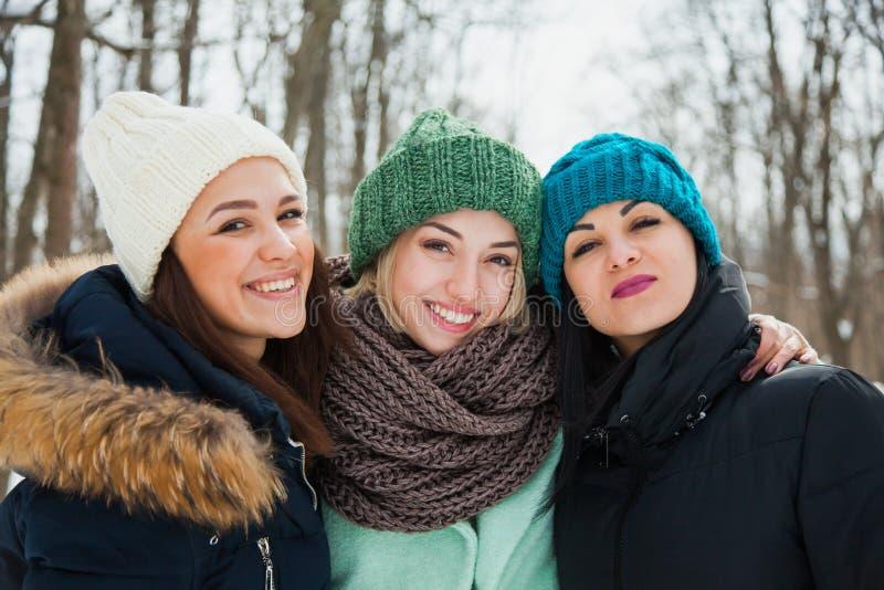 Três amigos das mulheres fora em chapéus feitos malha em um tempo frio nevado do inverno fotos de stock royalty free