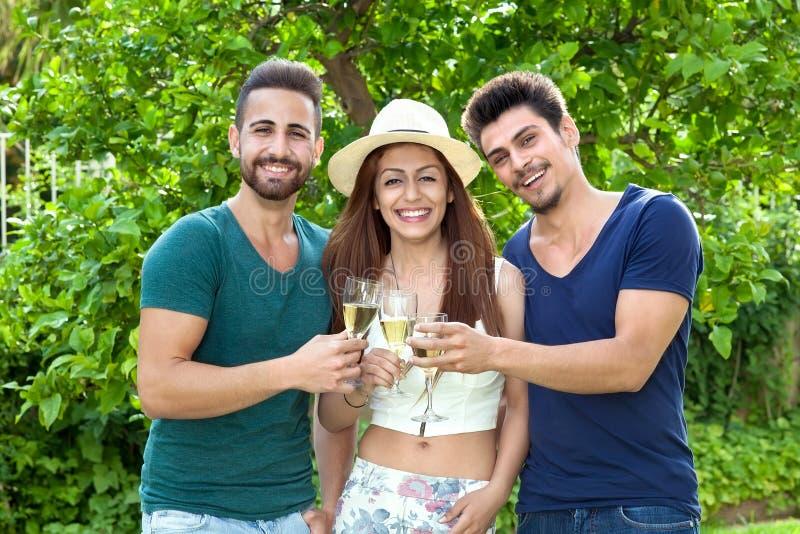 Três amigos de sorriso que comemoram com champanhe fotos de stock royalty free