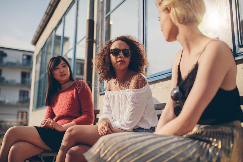 Três amigos fêmeas novos que encontram-se fora imagem de stock royalty free