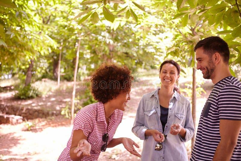 Três amigos felizes que compartilham de estórias boas fotografia de stock