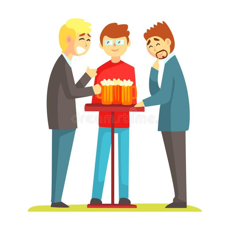 Três amigos que discutem sua cerveja bebendo na barra, parte da vida da série masculina da amizade de ilustrações ilustração stock