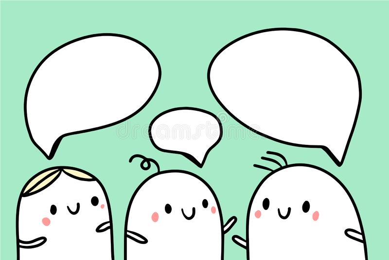 Três amigos que falam a ilustração com bolhas bonitos do marshmallow e do discurso ilustração do vetor