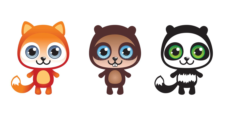 três animais ajustados ilustração royalty free