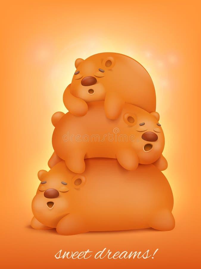 Três animais bonitos do kawaii dos desenhos animados dos ursos do sono ilustração stock