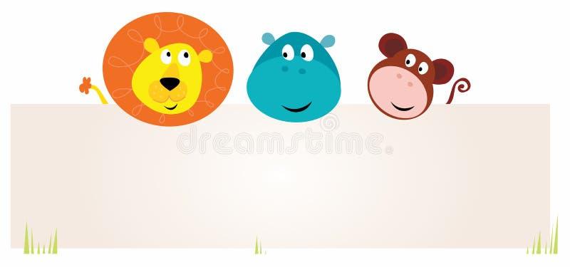 Três animais bonitos do safari que prendem o sinal em branco ilustração royalty free