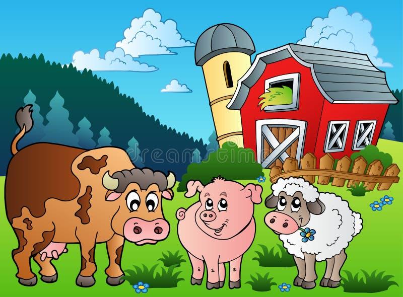 Três animais de exploração agrícola aproximam o celeiro